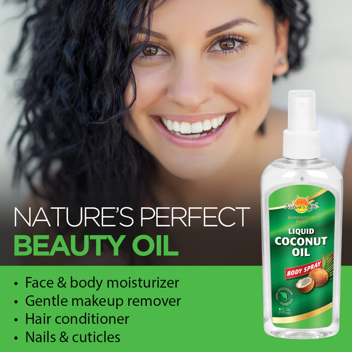 Natures Life Liquid Coconut Oil Body Spray, Pure & Fractionated | Light, Fast-Absorbing Hair & Skin Moisturizer | 6oz