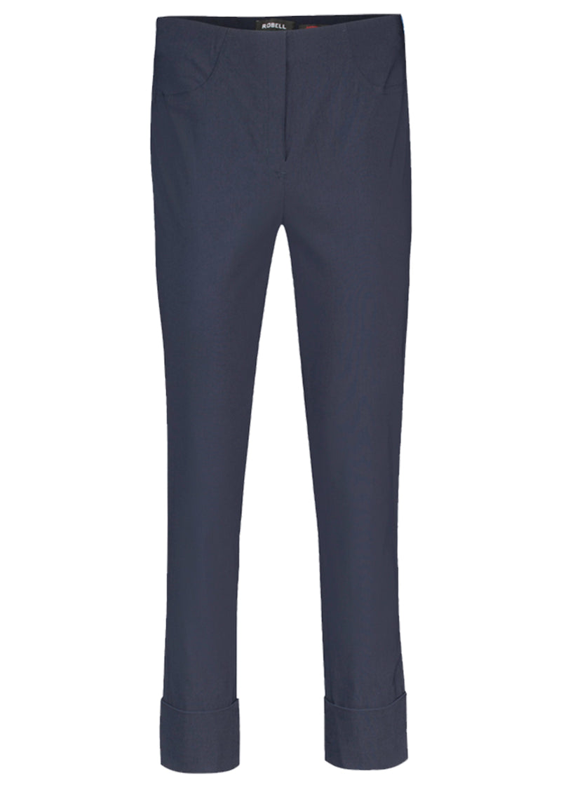 Robell Bella Cropped Navy Turn Up Trousers