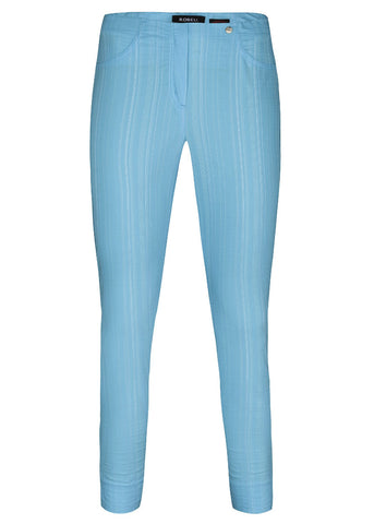 Robell Bella Pacific Blue Seeksucker Cropped Trousers