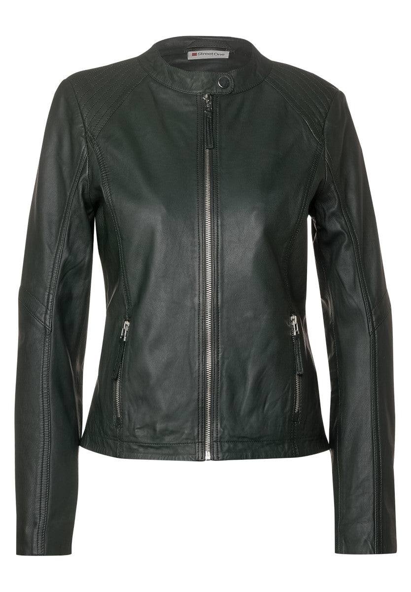 Dark Green Leather Style Jacket