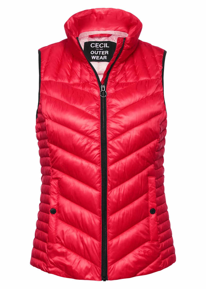 red hooded gilet
