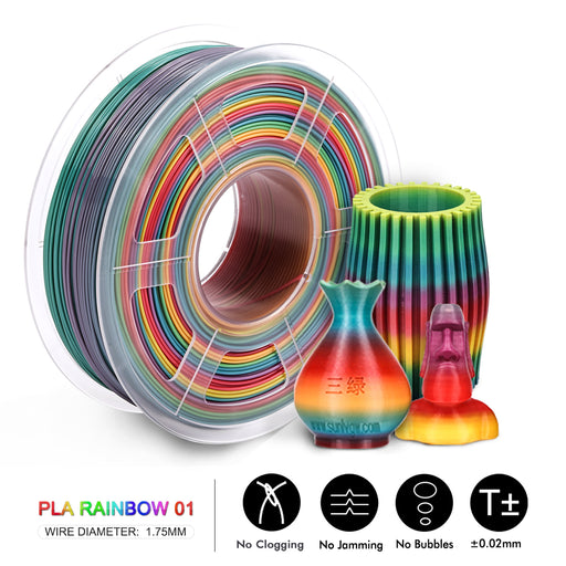 2 Rolls PLA Rainbow 1.75mm 3D Printer Filament 2kg/4.4lbs - Enotepad