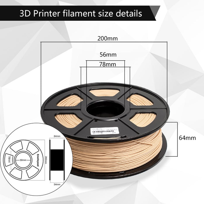 Wood 1.75mm Filament 1kg/2.2lbs. Fit most of FDM 3D printer - Enotepad