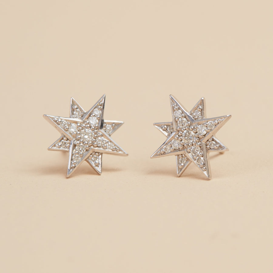 Aurora Diamond Studs - 9ct White Gold