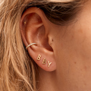 Tiny Lightning Bolt Stud - 9ct Gold