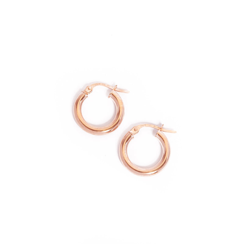 Narrow Tube Hoops Extra Small - 9ct Rose Gold
