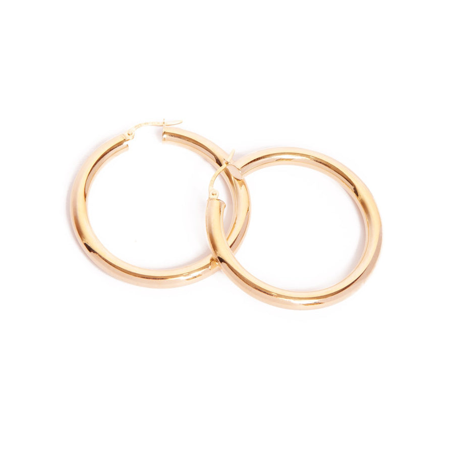 Super Chunky Tube Hoops Large - 9ct Gold