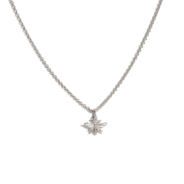 Tiny Honey Bee Necklace - 9ct White Gold