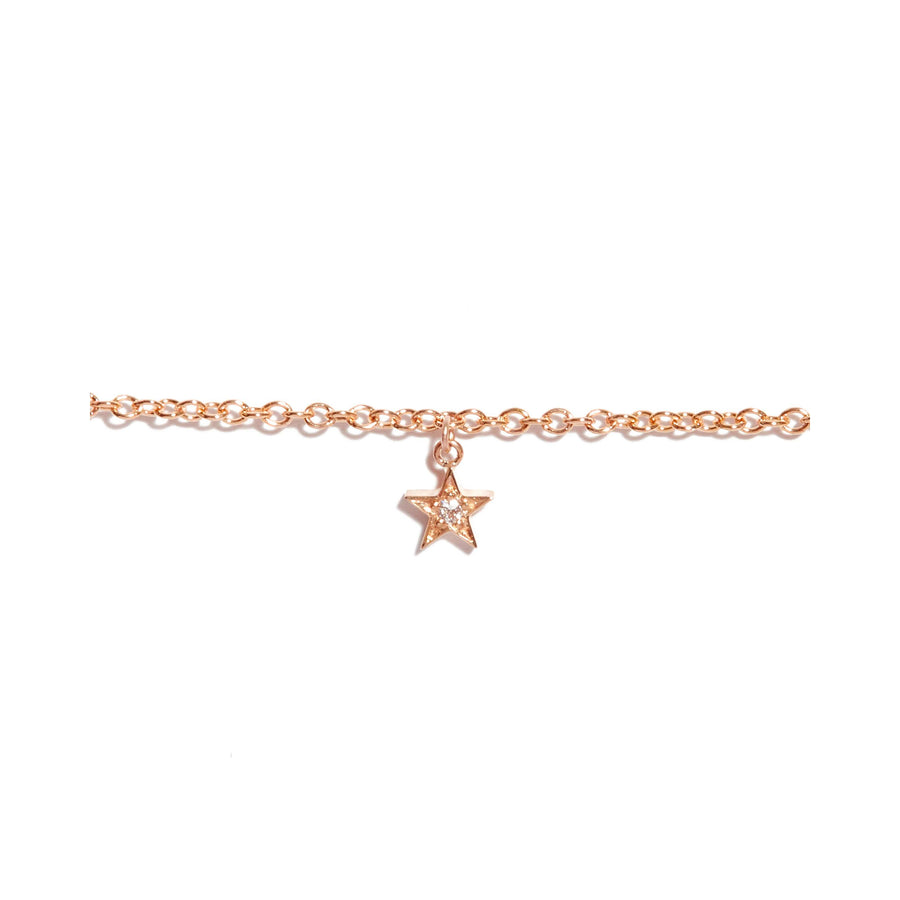 Tiny Star Diamond Bracelet - 9ct Rose Gold