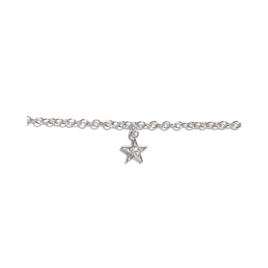 Tiny Star Diamond Bracelet - 9ct White Gold