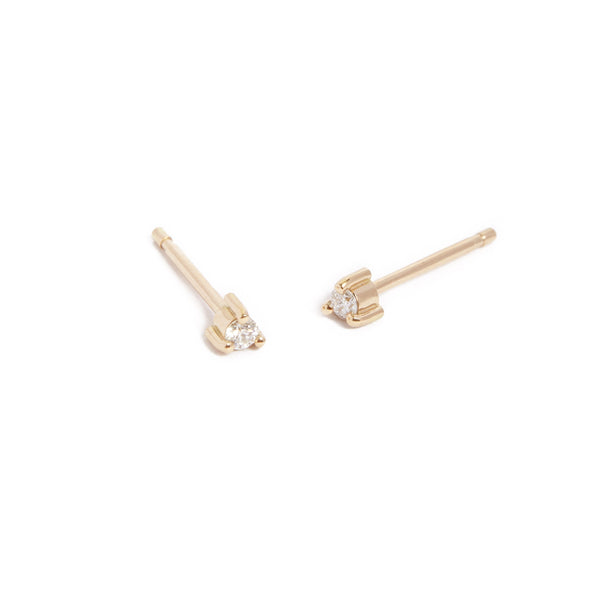 Neo 3pt Diamond Stud - 9ct Gold