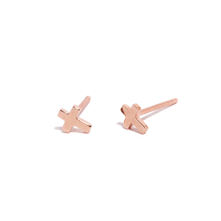 Cross Stud - 9ct Rose Gold