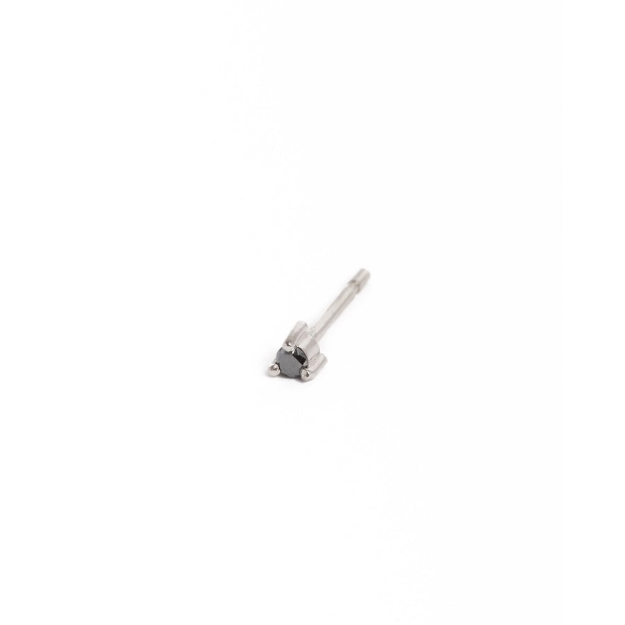 Neo 3pt Black Diamond Studs - 9ct White Gold