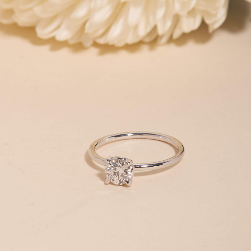 The Lovers Round Diamond Solitaire - 14ct White Gold