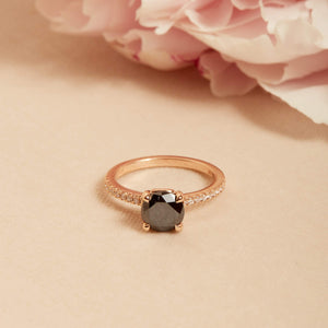 Raven Black & White Diamond Ring - 14ct Rose Gold
