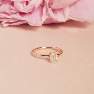 Eve Emerald Cut Diamond Solitaire - 14ct Gold