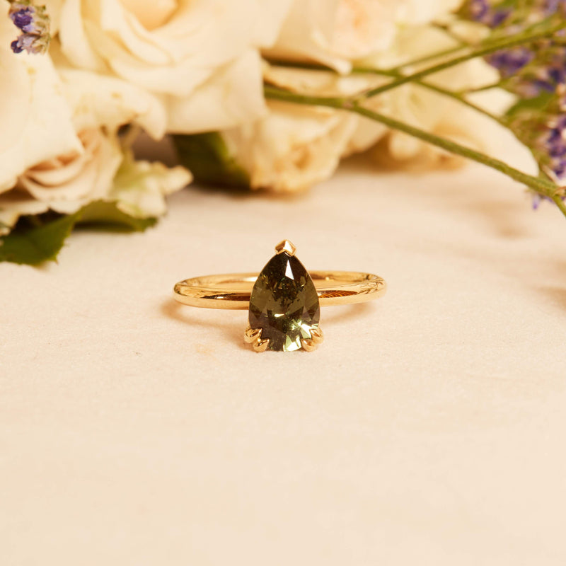 Minerva Pear Shape Green Sapphire Solitaire - 18ct Gold
