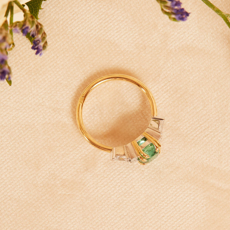 Isadora Emerald and Diamond Ring - 18ct Gold and White Gold