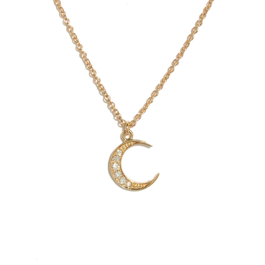 New Moon Diamond Necklace - 9ct Gold