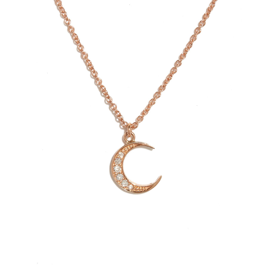 New Moon Diamond Necklace - 9ct Rose Gold