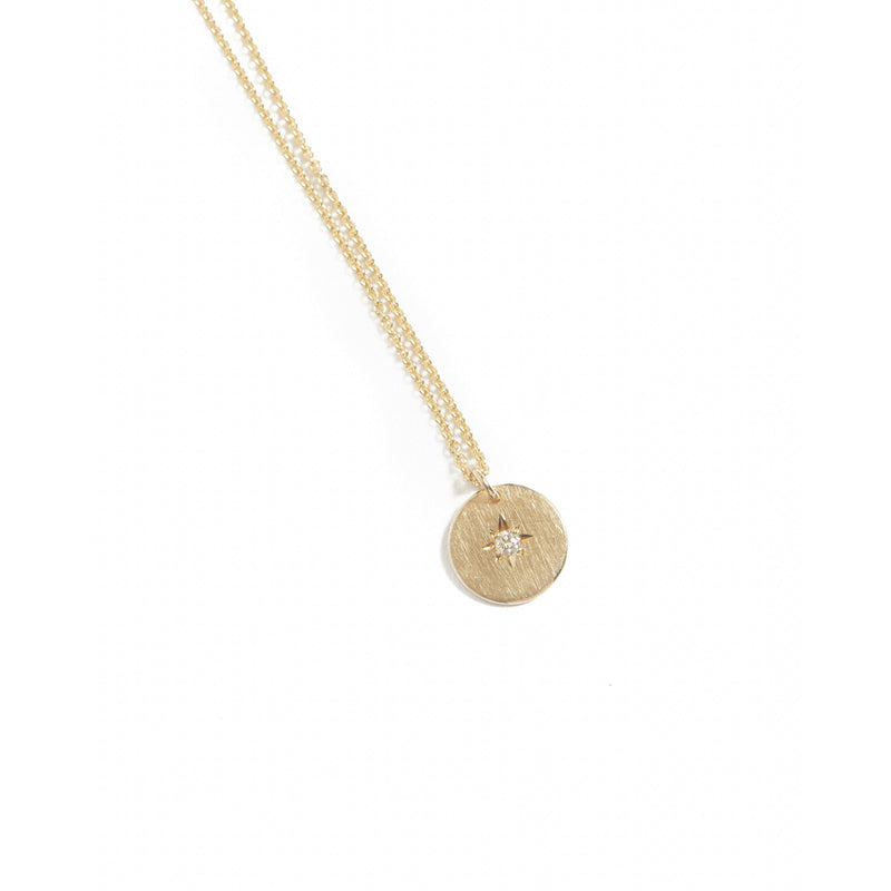 Sunray Diamond Necklace Small (Brushed) - 9ct Gold