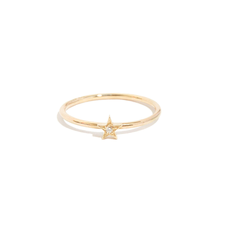 Tiny Star Diamond Ring - 9ct Gold
