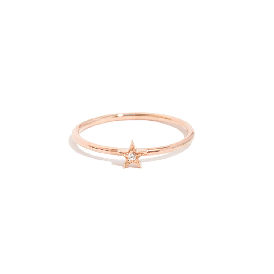 Tiny Star Diamond Ring - 9ct Rose Gold
