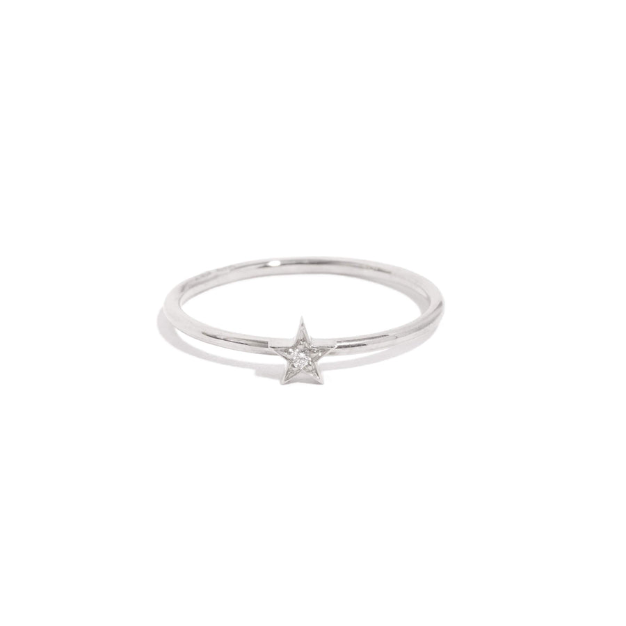 Tiny Star Diamond Ring - 9ct White Gold
