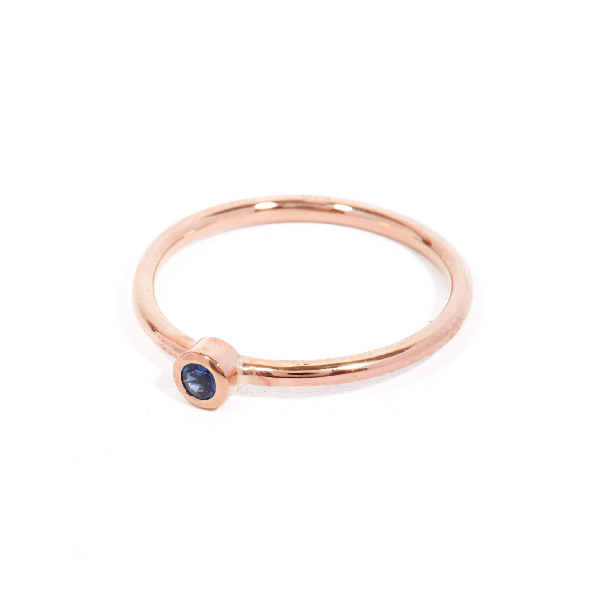 Neo Blue Sapphire Ring - 9ct Rose Gold
