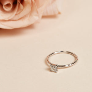 Bella Square Solitaire Ring - 14ct White Gold