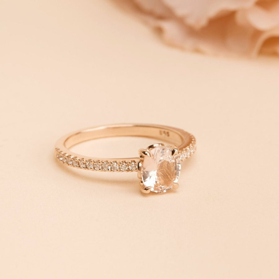 Summer Peach Sapphire & Diamond Ring - 14ct Rose Gold
