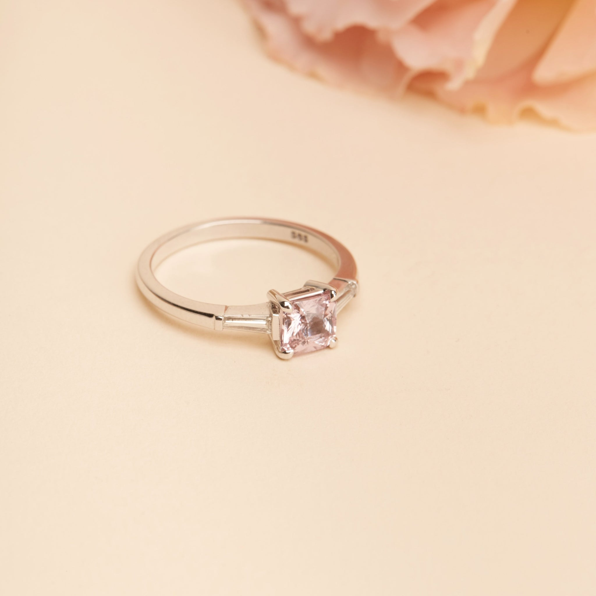rings diamond stone pink ring ice engagement