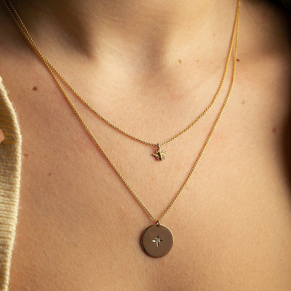 Tiny Honey Bee Necklace - 9ct Gold
