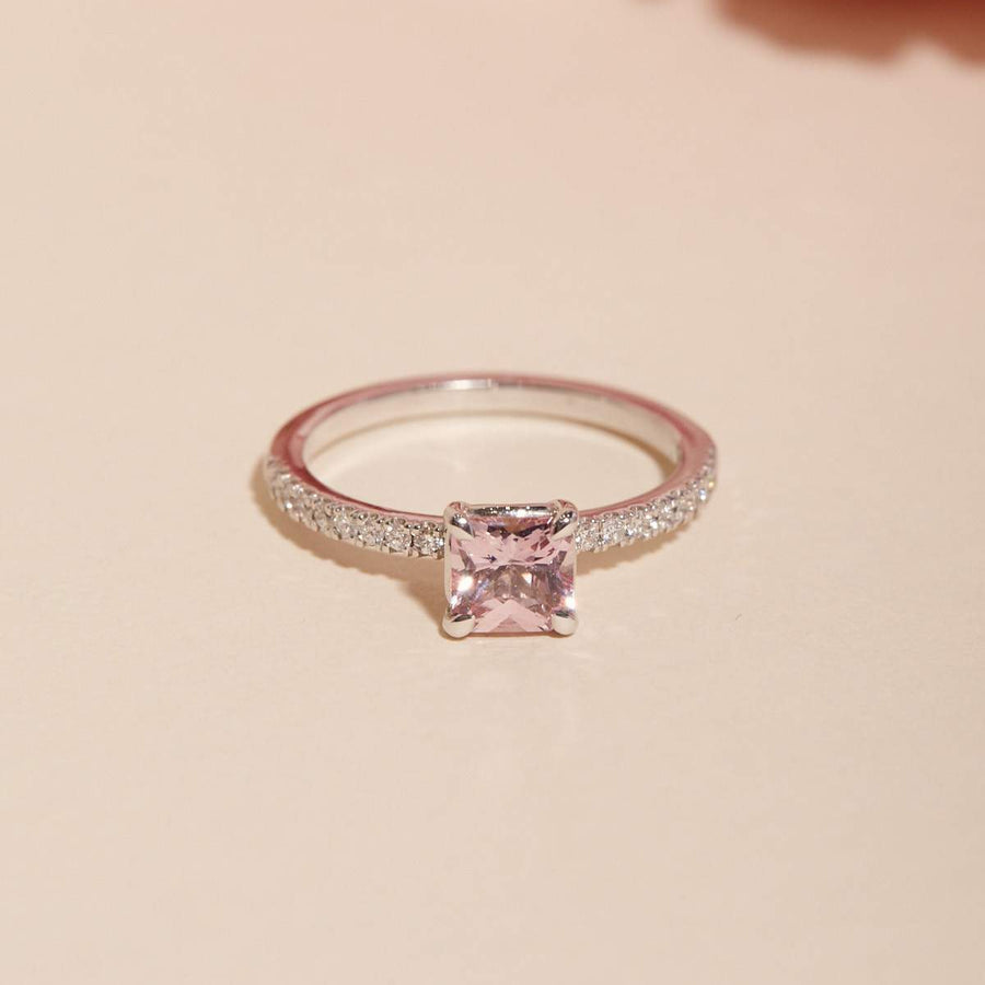 Gracie Pink Sapphire Ring - 14ct White Gold