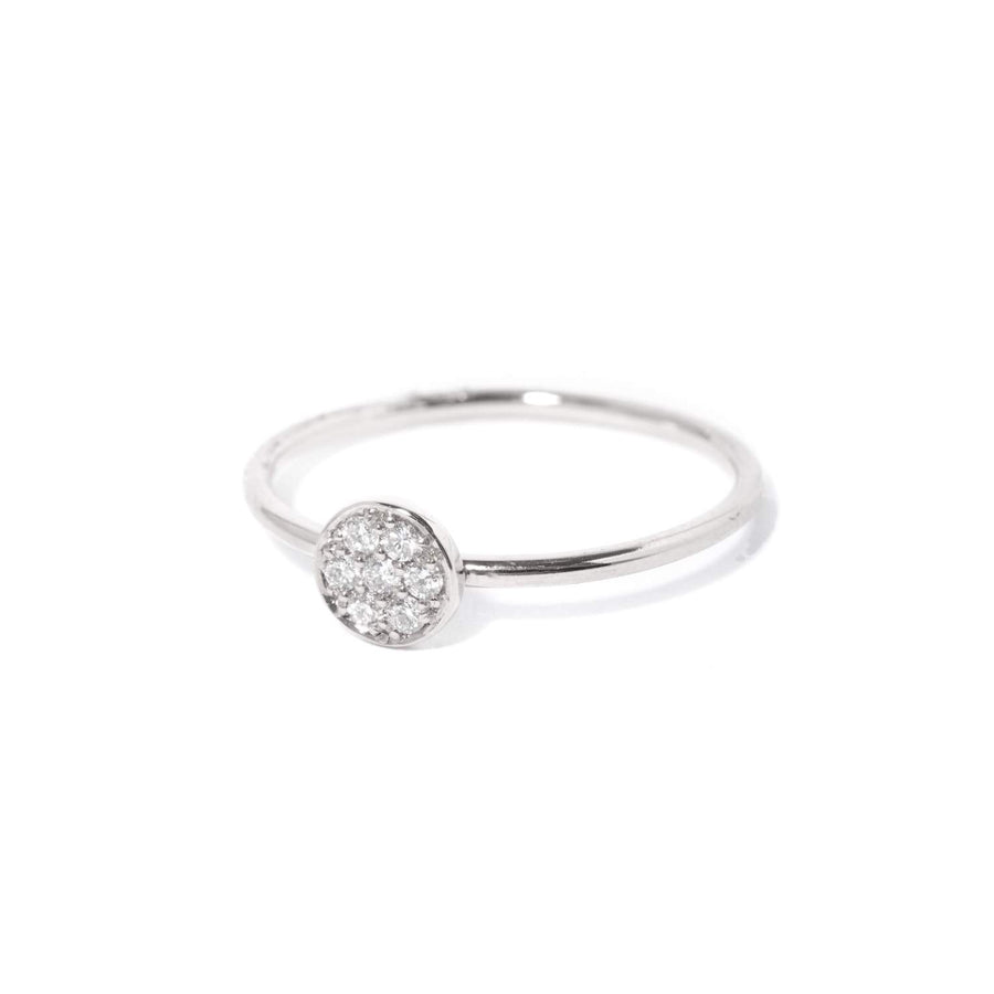 Petite Pave Diamond Ring - 9ct White Gold