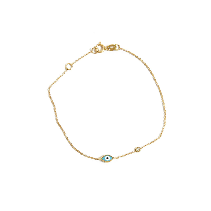Marquise Evil Eye & Diamond Bracelet - 14ct Gold
