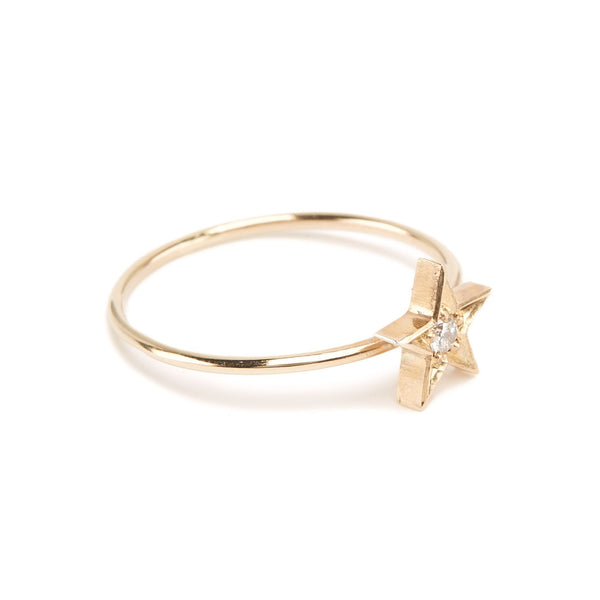 Star Diamond Ring - 9ct Gold