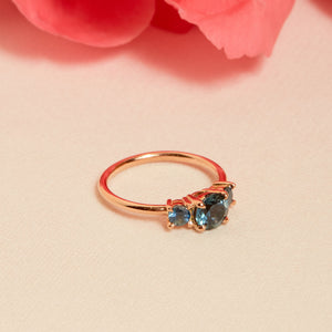 Delphine II Blue Sapphire Three Stone Ring - 14ct Rose Gold