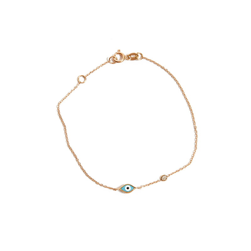 Marquise Evil Eye & Diamond Bracelet - 14ct Rose Gold