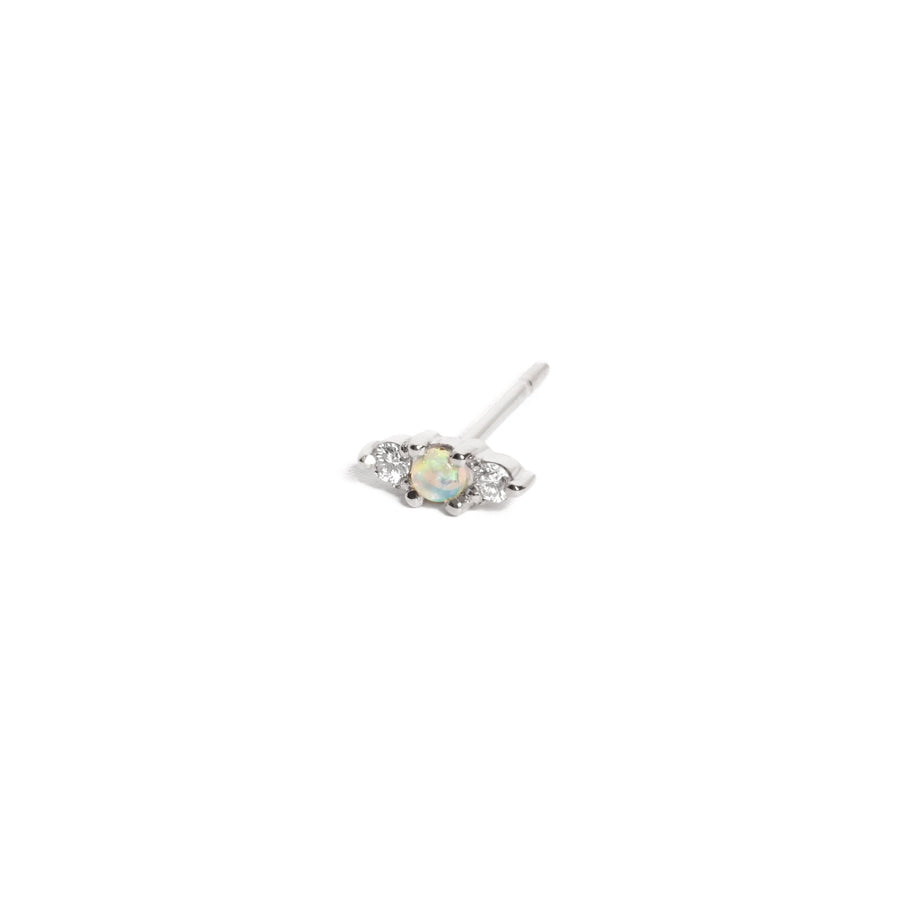 Jupiter Opal & Diamond Stud - 9ct White Gold
