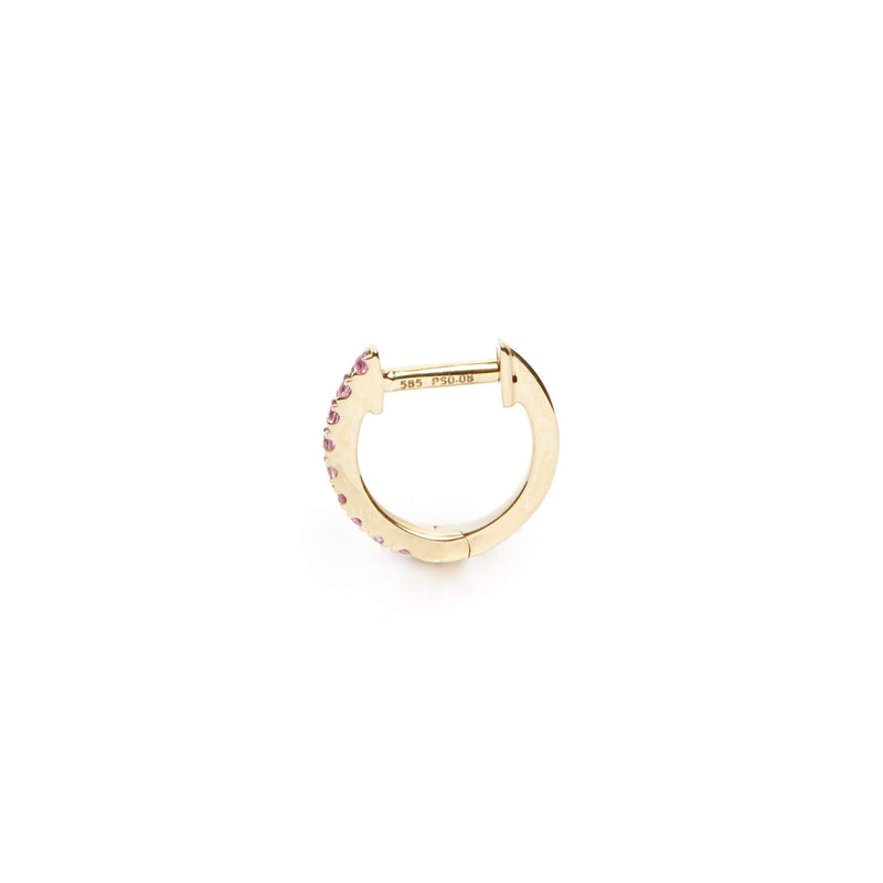 Pink Sapphire Huggie Small - 14ct Gold