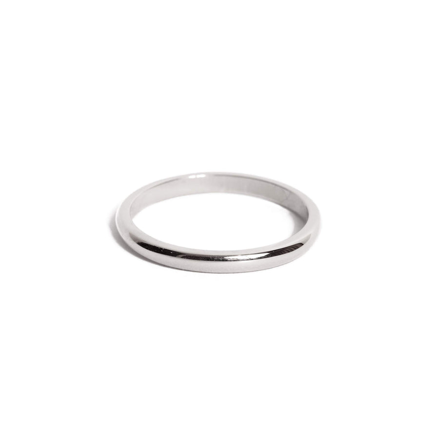 Half Round Ring 2mm - 14ct White Gold