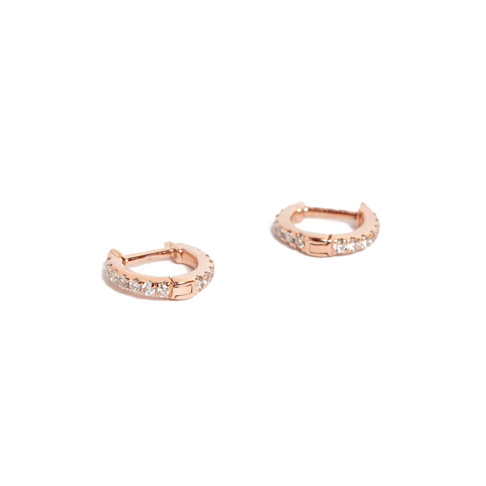 3459efb61 Diamond Huggies Extra Small - 14ct Rose Gold