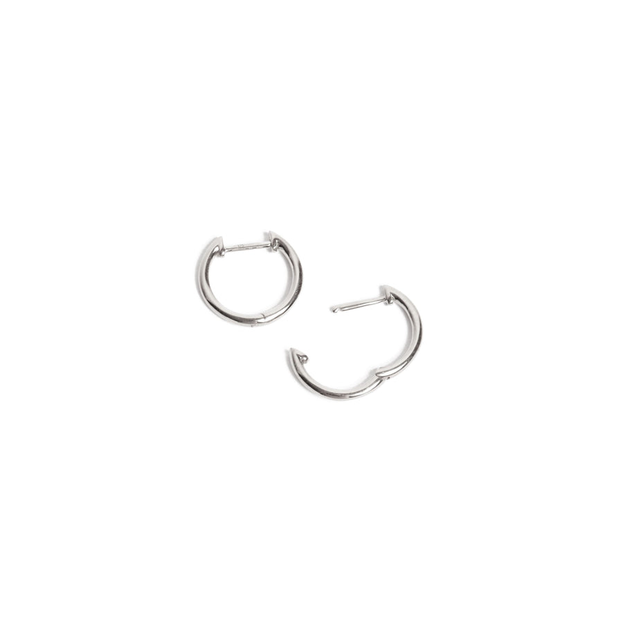 Round Huggie Medium - 9ct White Gold