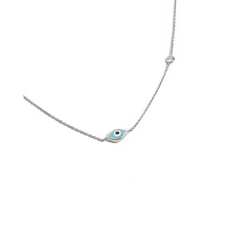 Marquise Evil Eye & Diamond Necklace - 14ct White Gold