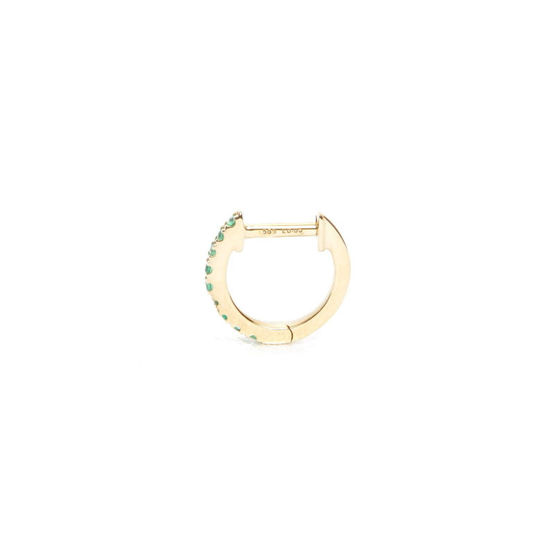 Emerald Huggie Small - 14ct Gold