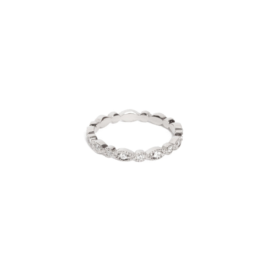 Lotus Diamond Ring - 14ct White Gold