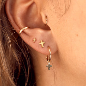 Tiny Cross Stud - 9ct Gold