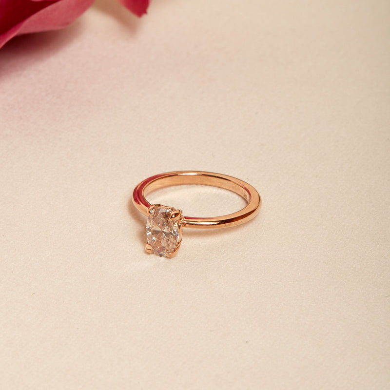 Florence Oval Champagne Diamond Solitaire - 18ct Rose Gold