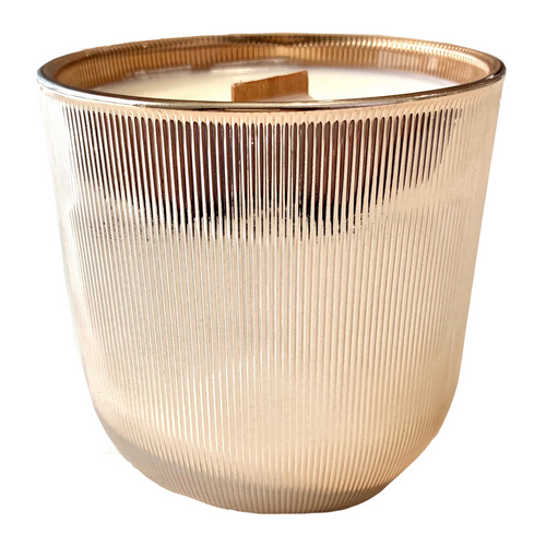 Rose Gold Ribbed Candle